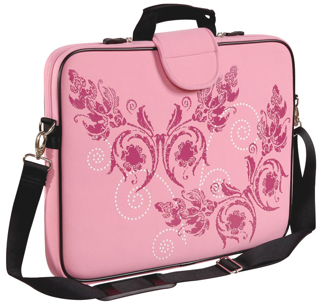 "15.6"" Screen Size Laptop Sleeve, w/Handle & shoulder Strap, Pink - Click Image to Close"