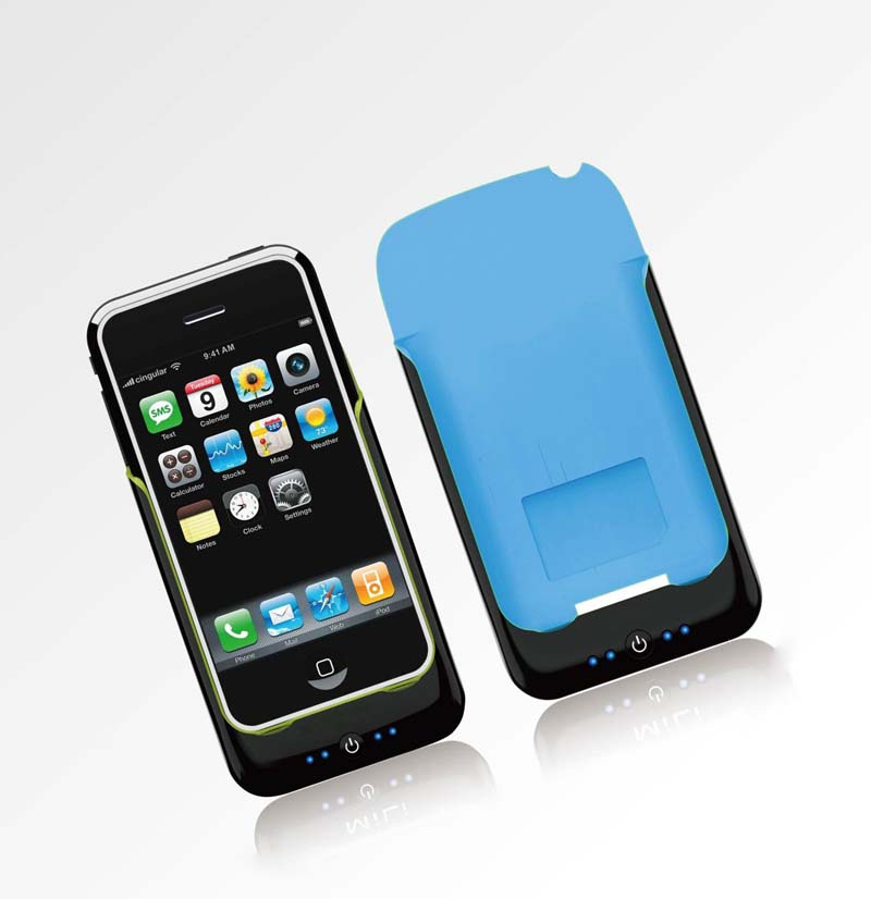 iPhone Power Pack case+external battery for 3G, 3GS Black Blue