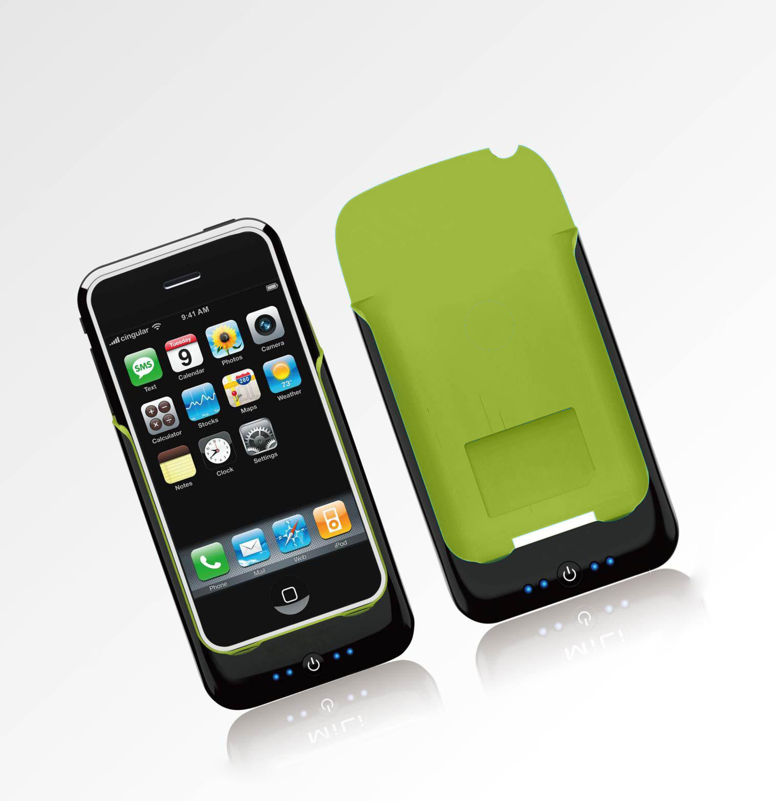 iPhone Power Pack case+external battery for 3G, 3GS Black Green